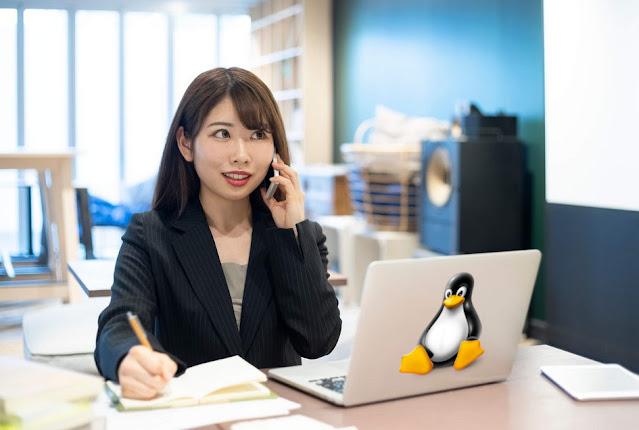 karyawan kantor menggunakan linux