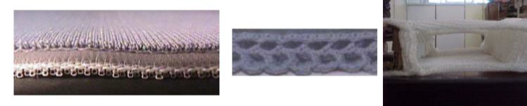 Sandwich fabrics with connection through yarn and knitted layer