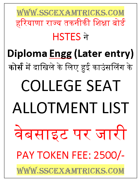 HSTES Polytechnic Diploma Later Entry Seat Allotment List