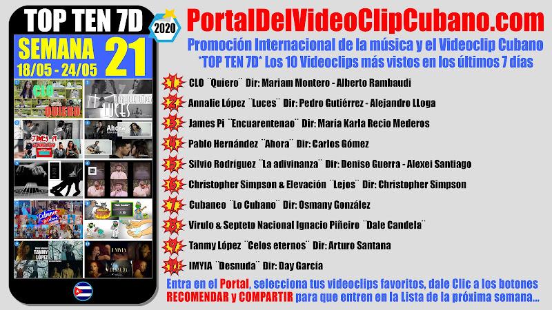 Artistas ganadores del * TOP TEN 7D * con los 10 Videoclips más vistos en la semana 21 (18/05 a 24/05 de 2020) en el Portal Del Vídeo Clip Cubano