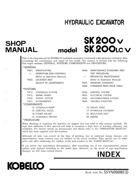 Sk200V sk200LCV Shop Manual Hydraulic Excavator