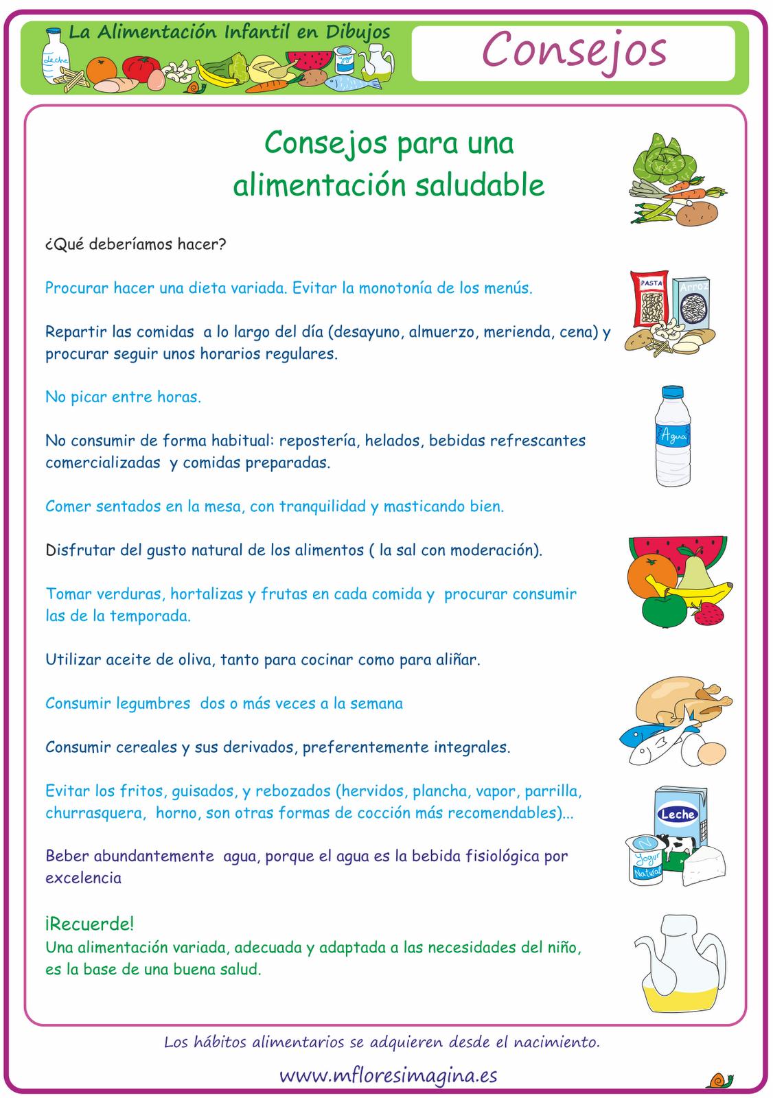 La alimentacin en dibujos Alimentacin saludable