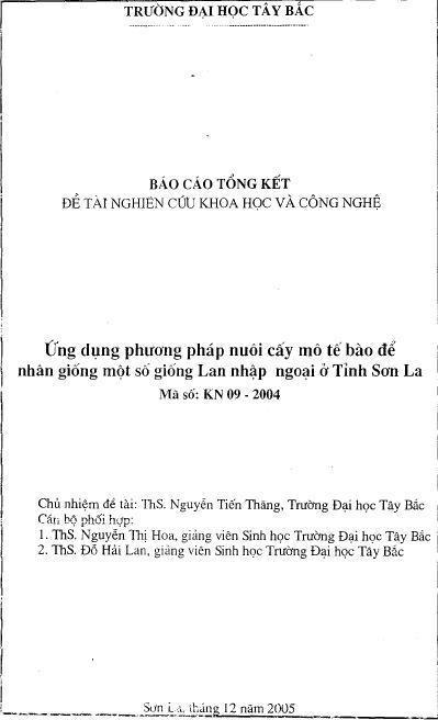 Ứng dụng phương pháp nuôi cấy mô tế bào để nhân giống một số giống lan nhập ngoại ở tỉnh Sơn La