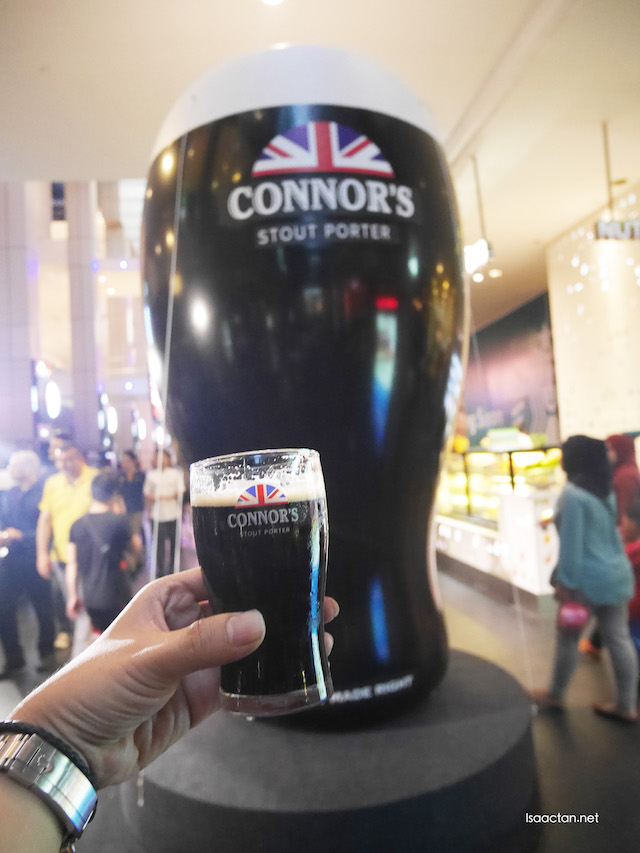 Majestically standing at 10 feet in height, a giant pint of Connor's Stout Porter stands tall