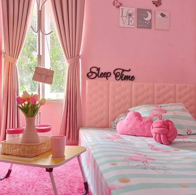 Desain Kamar Tidur Anak Perempuan Sederhana Warna Pink