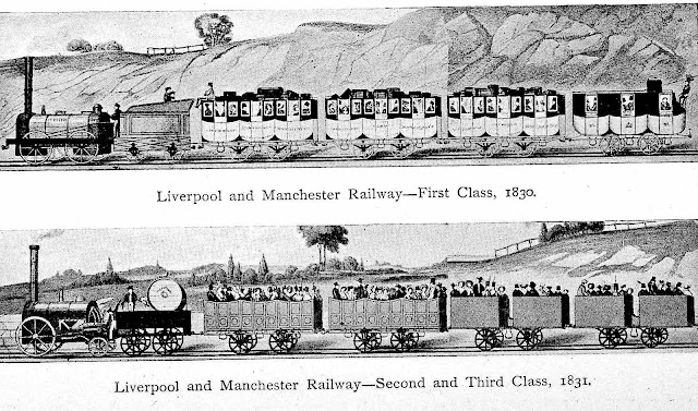 Early railway passengers in 1831, first second and third class, an illustration