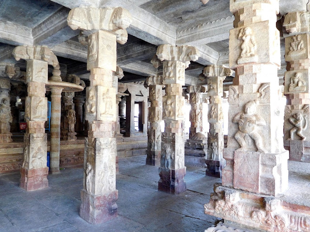 The mandapa of the Bhoga Nandeeshwara Temple, Karnataka, has pillars depicting figures from the mythologies, flora and fauna
