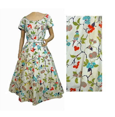 Wendy Woods 1950's Cherry Print  Dress