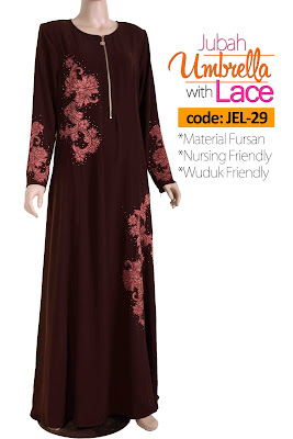 Jubah Umbrella Lace JEL-29 Brown Depan 1