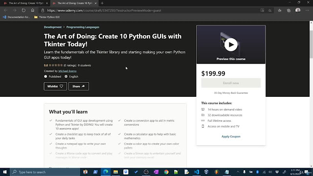 The Art of Doing: Create 10 Python GUIs with Tkinter Today!