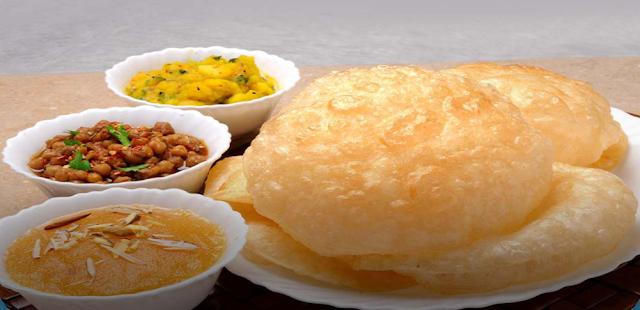 Halwa Poori is usually eaten in