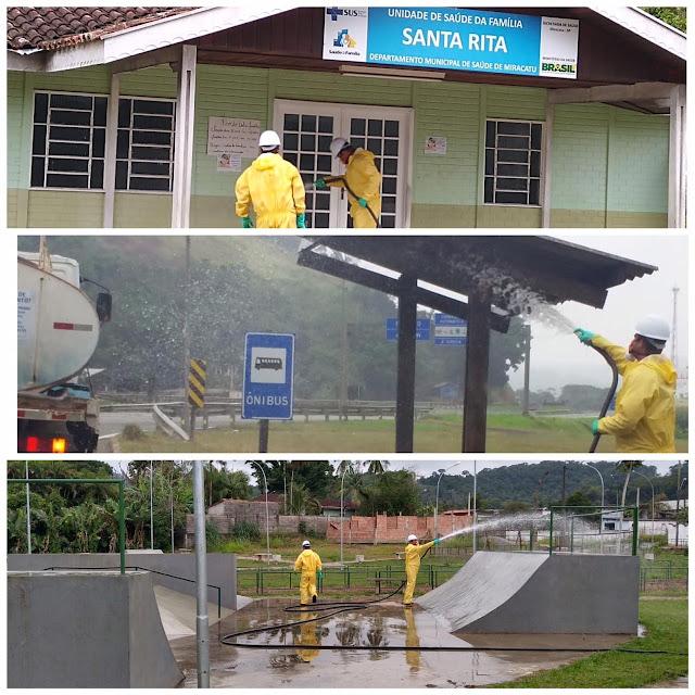 Prefeitura de Miracatu realiza desinfecção em Santa Rita