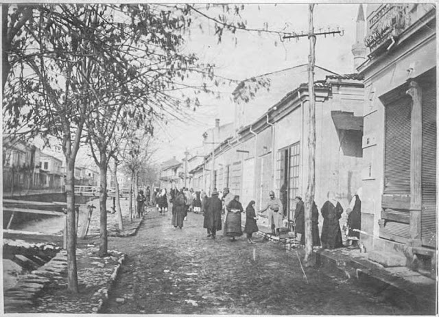 In the streets of Bitola (Monastir) - March 1917.  People from Bitola in the city after the bombing