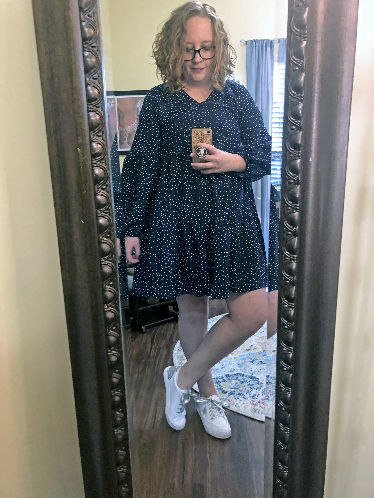 blue-polka-dot-dress-sneakers