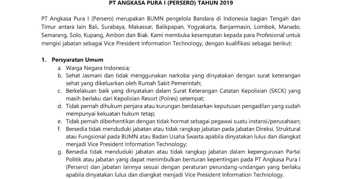 Lowongan Kerja Bumn Pt Angkasa Pura I Persero Februari 2019 Rekrutmen Lowongan Kerja Bulan Februari 2021