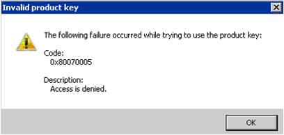 Error en la activación Windows 7 0x80070005