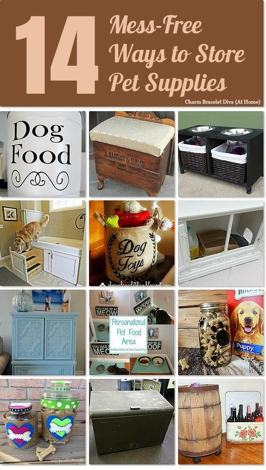14 mess-free ways to store pet supplies collage