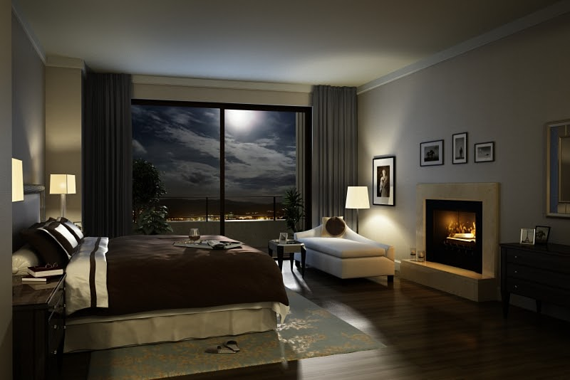 Interior designs: A Night view of bedroom rendered in VRay....