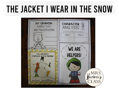 The Jacket I Wear in the Snow book study winter literacy unit with Common Core aligned companion activities for K-1