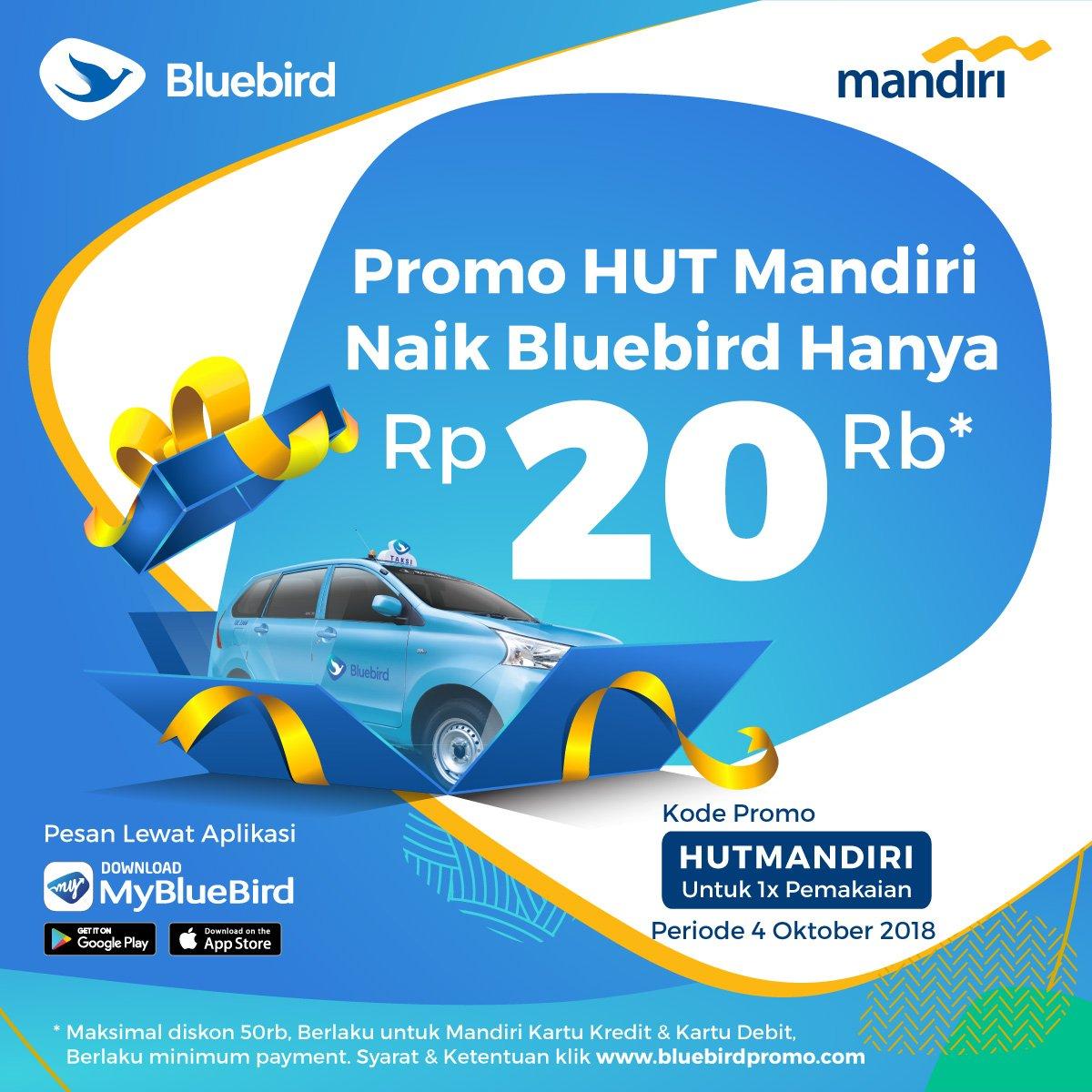 BlueBird - Promo Kemana Aja 20 Ribu Pakai Kartu Mandiri Kredit & debit 2018
