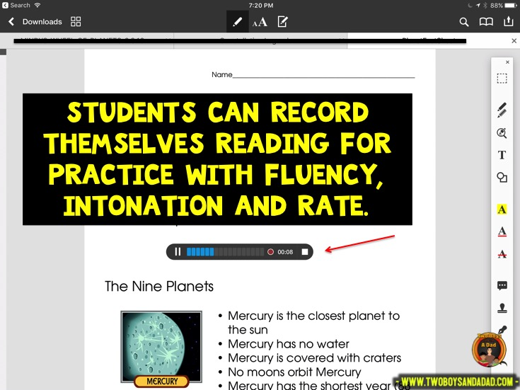 Using PDF Expert in guided reading to record students reading text