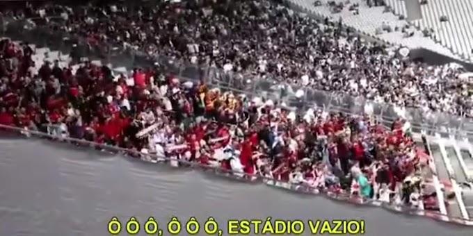 """VÍDEO: Torcida do Flamengo zoa torcida do Corinthians por """"estádio vazio"""", mas acaba tomando uma invertida"""