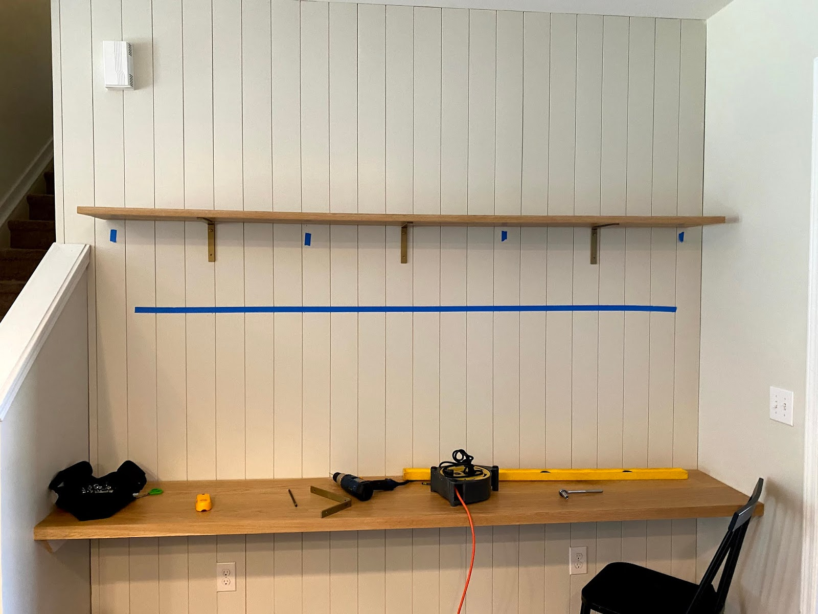 how to hang shelves with brackets