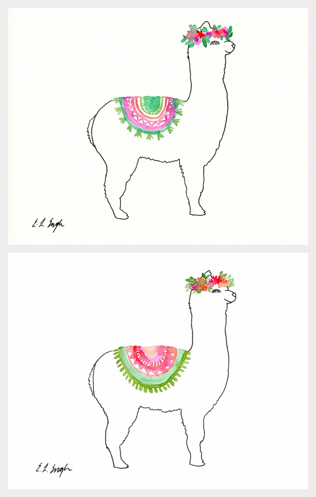 Watercolor Llama Illustrations- nursery decor- girl's room