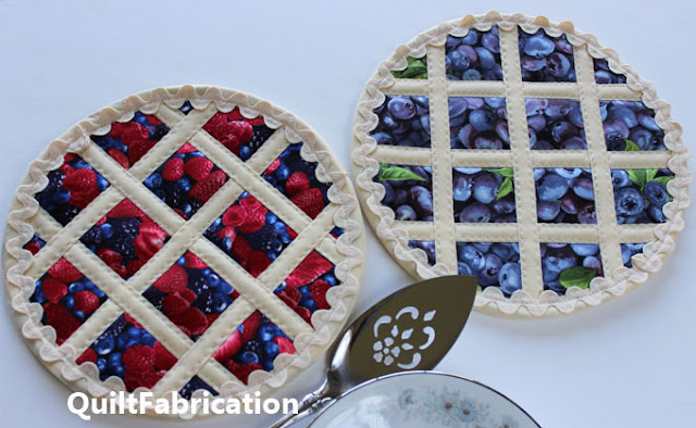 fruit fabric plus strips and ric rac make a pie