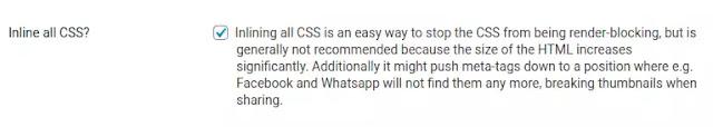 Inline All CSS - Autoptimize