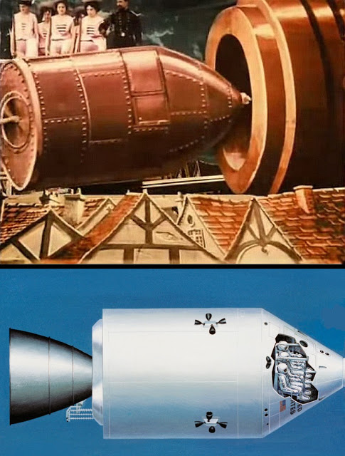 Photo from the 1902 animated movie A Trip to the Moon compared to an early NASA design for the command module that would go to the moon.