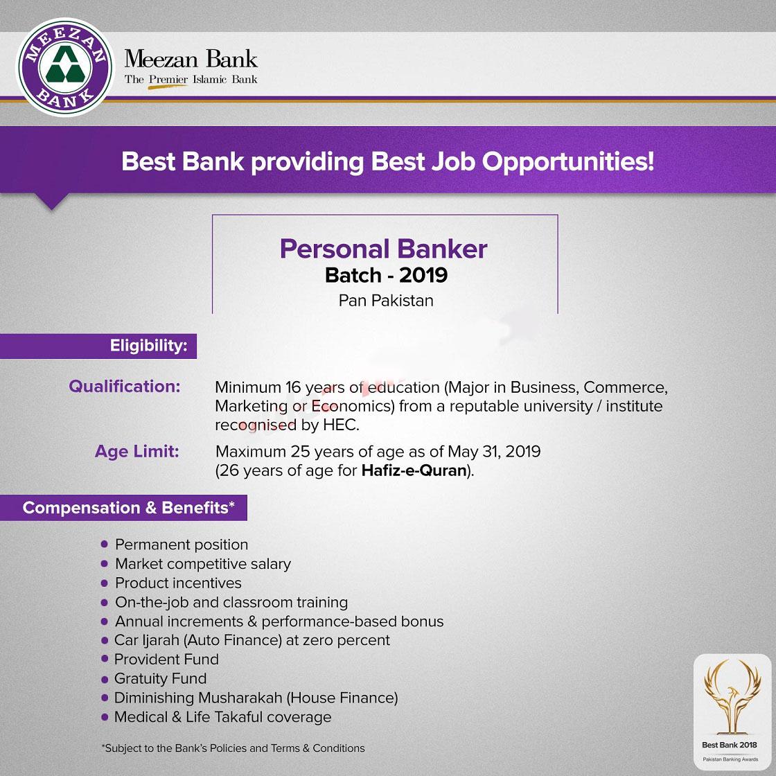 Latest Meezan Bank Jobs 2019 as Personal Banker Batch 2019 Apply Online