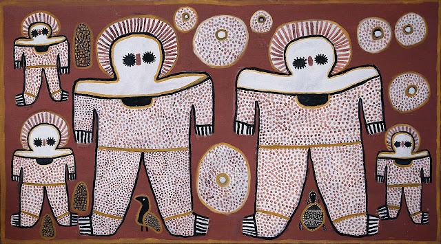 Representación de los Wandjinas, los antiguos seres que bajaron del cielo y visitaron a los antiguos habitantes de Australia, según manifiestan sus tradiciones.