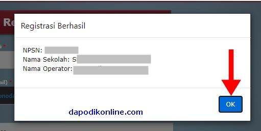 Registrasi Dapodik Offline Versi 2021.c Berhasil