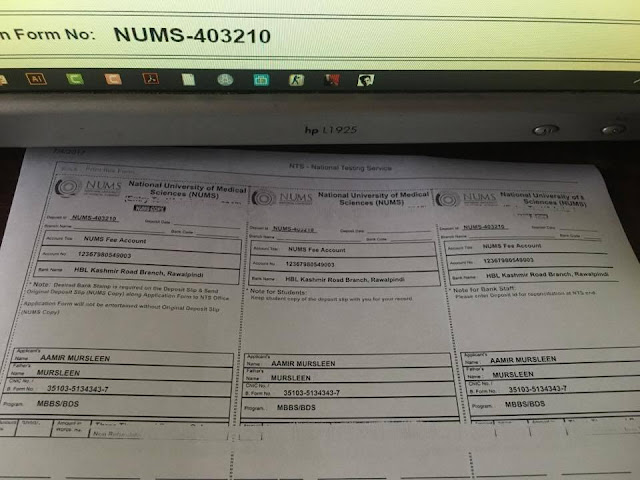 Printed Copy (hard copy) of NUMS Deposit Slip