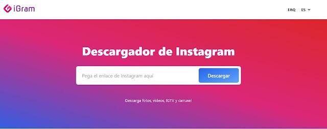 Instagram te brinda una serie de tipos de contenido: feed, igtv, carrusel. Para este caso puedes usar la herramienta iGram.