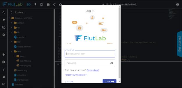 flutter flutlab interface login