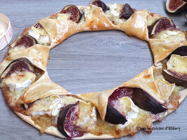 Tarte couronne d'automne au camembert, confit d'oignon et figues