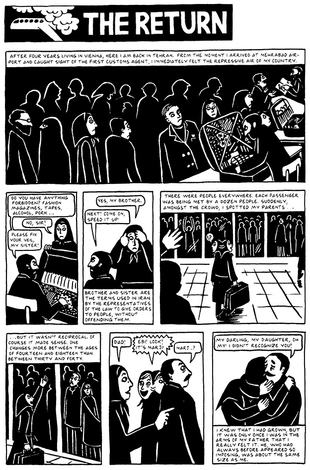Read Chapter 10 - The Return, page 92, from Marjane Satrapi's Persepolis 2 - The Story of a Return