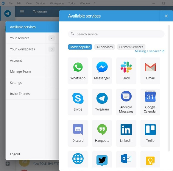Franz is freeware messaging and chat with total 72 services