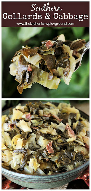 Southern Collards & Cabbage ~ Seasoned with bacon, slow-simmered until super tender, & packed full with fabulous flavor, collards & cabbage combine to create a milder version of collard greens. A perfect comfort food side for Thanksgiving dinner, New Year's Day, or any time that Southern collards craving hits.  www.thekitchenismyplayground.com