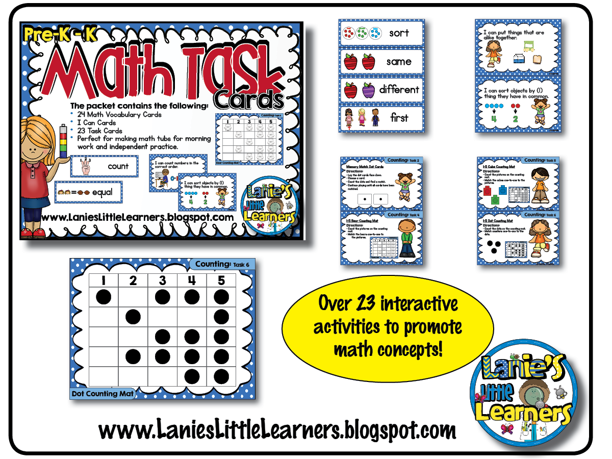Lanie\'s Little Learners: Pre-K to K Math Task Cards (Set 1 Printables)