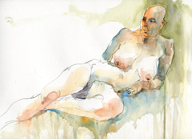 Watercolour life drawing sketch by David Meldrum 20121201