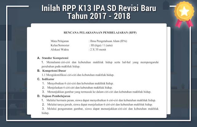 Inilah RPP K13 IPA SD Revisi Baru Tahun 2017 - 2018