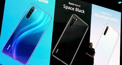 pilihan warna Redmi Note 8: Neptune Blue, Space Black dan Moonlight White