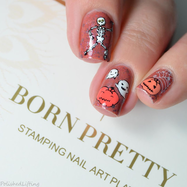 pumpkin ghost stamped nail art