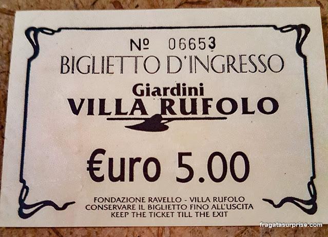 Ingresso para a Villa Rufolo, Ravello, Costa Amalfitana