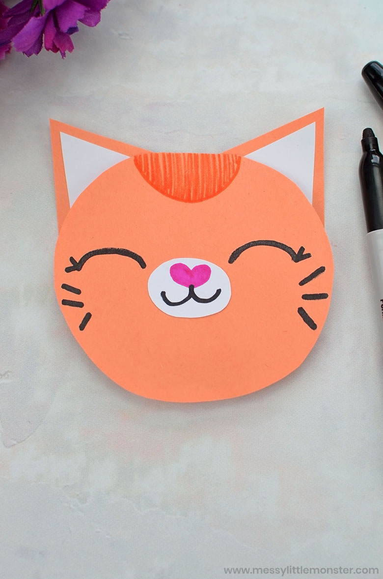 Printable Mother's Day Card Craft for Kids - cat