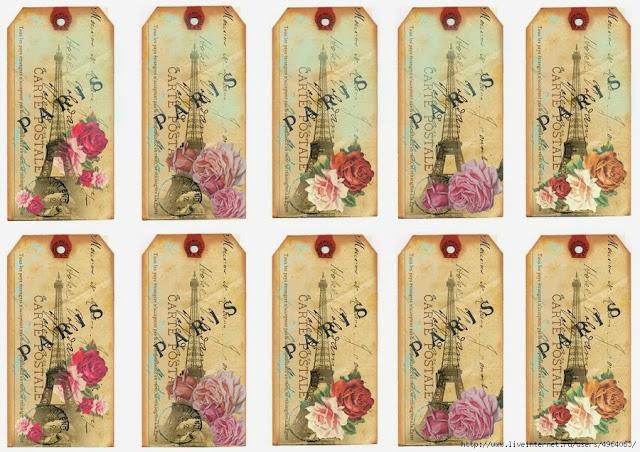 Etiquetas Retro París con Flores.
