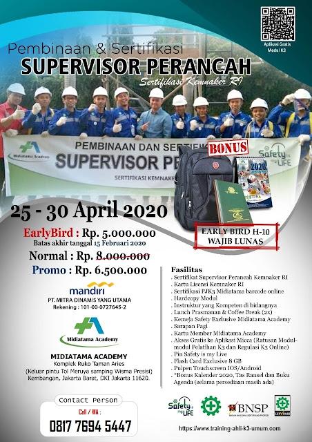 Supervisor Perancah kemnaker tgl. 25-30 April 2020 di Jakarta